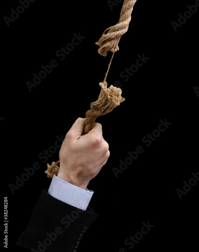 Hand hanged on damaged rope