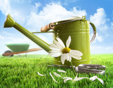 Green watering can with large daisy