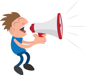Guy yelling or screaming into a megaphone