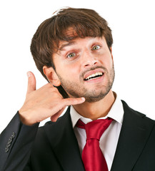 businessman showing call me sign