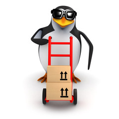3d Penguin delivers some boxes on a handcart