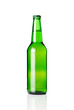 Green beer bottle isolated on white background