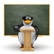 3d Penguin lectures in front of the blackboard