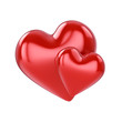 Couple of red hearts , isolated on white