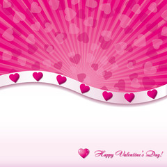 Pink valentine background with hearts, vector