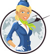 Vector illustration of a beautiful blonde stewardess