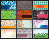 collection of 12 horizontal business cards  - vector