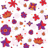 doodle floral seamless pattern - vector illustration
