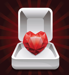 box with ruby in shape of heart -vector illustration