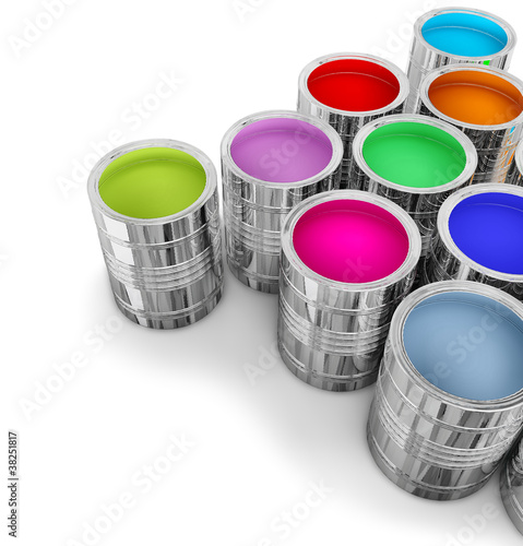 cans with colorful paints