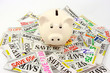 Piggy Bank On Pile Of Money Saving Grocery Coupons