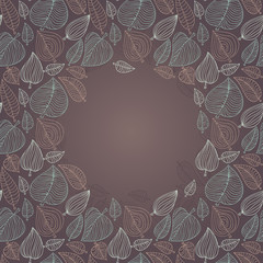 frame with leaves - vector illustration