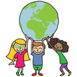 Kinder, große Weltkugel