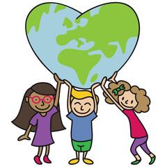 Kinder, große Weltkugel, herzförmig