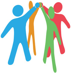 People collaborate team up join hands together
