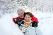 Senior couple in snowy landscape