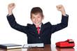 Winner businessman in the office
