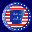 Arkansas state map and seal stamp usa