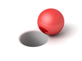 red shiny ball in front of hole on white background