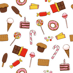 Seamless pattern with bright sweets