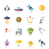 astronautics, space and universe icons