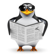 3d Penguin reads the newspaper cover to cover