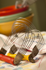 Mid-century baking bowls and vintage utensils