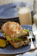 Meatloaf sandwich on rustic French Baguette