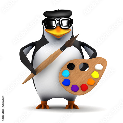 3d Penguin is a great artist ready to paint