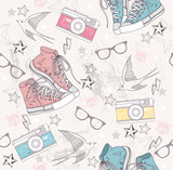 Cute grunge abstract pattern. Seamless pattern with shoes, photo - 38261440