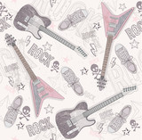 Cute grunge abstract pattern. Seamless pattern with guitars, sho - 38261443