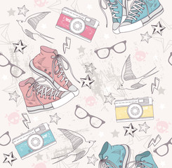 Cute grunge abstract pattern. Seamless pattern with shoes, photo
