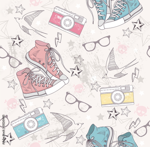 Fototapeta Cute grunge abstract pattern. Seamless pattern with shoes, photo