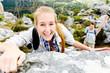 climbing rock woman