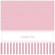 Pink vector card or baby shower invitation with polka dots