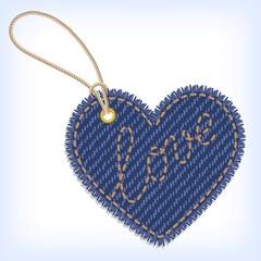 Jeans heart valentine label