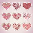 Set of heart shaped labels