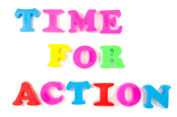 time for action written in fridge magnets