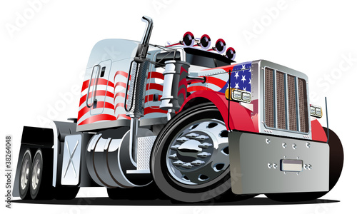 Foto op Aluminium Cartoon cars Vector cartoon semi truck