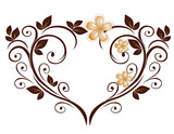 Openwork heart from a flower pattern poster