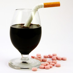No, alcohol, cigarettes, drugs