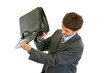 Businessman shakes out something from briefcase