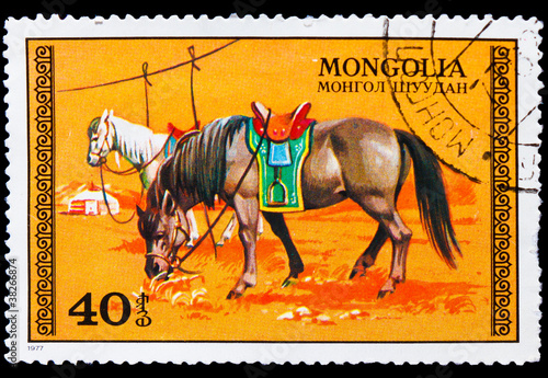 MONGOLIA - CIRCA 1977: A Stamp printed in MONGOLIA, drawn by two