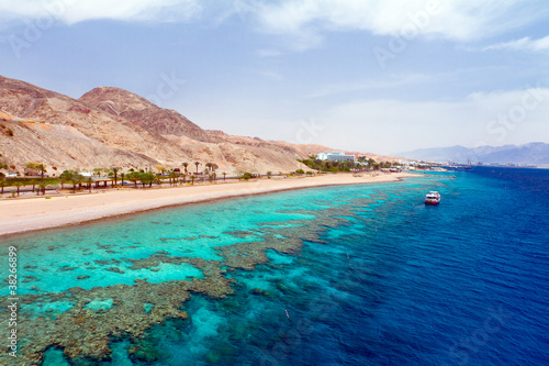 Panorama coastline of Red sea from coral reef