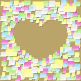 Sticky notes pattern on a cork board