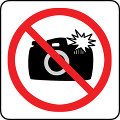 No photography with flash allowed sign
