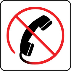 No telephone allowed sign