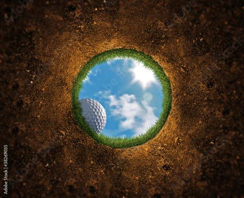 Leinwanddruck Bild Golf Ball Falling