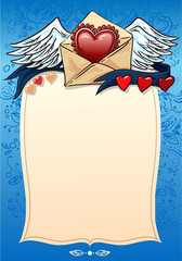 фон для любовного признания. валентинка. сердца и ленты