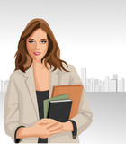 Woman holding files with city on the background